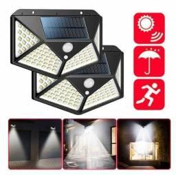Luminária energia solar parede 100 led sensor presença 3 funções