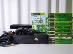 Xbox 360 Slim *Desbloqueado* + Kinect + Controle + 20 Jogos