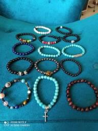 Pulseira em pedras semi preciosas lazúli, opalas, Onix, jade e outras