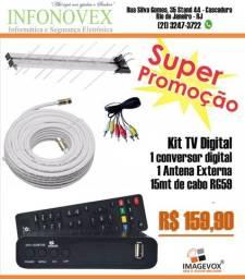 Kit conversor digital + antena externa + 15 metros de cabo rg59 - Imagevox