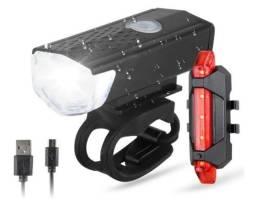 Lanterna Bike Recarregável Dianteira + Traseira