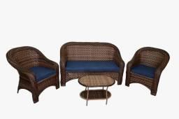 Conjunto Caribe sofá azul marinho em fibra sintética