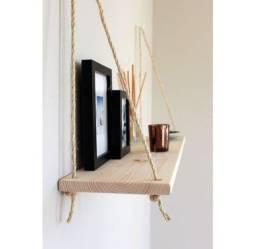 Prateleira Decorativa Com Cordas E Ganchos De Fixação