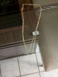 Colar Ouro 16 com pedras de Zircônia