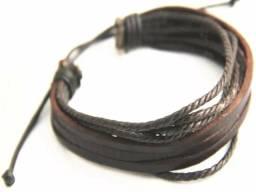 Kit com 12 pulseiras de couro unissex ajustável
