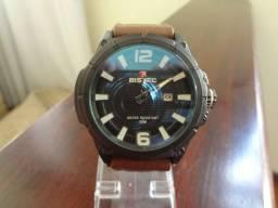 Relógios / Relógio Bistec de Couro Legítimo com Marcação de Data 100% Novo e Original