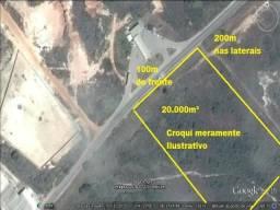 Terreno com 20.000m³ plano, de frente para a pista. Camaçari.