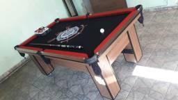 Mesa 2,20 x 1,20 Cor Imbuia Tecido Preto Logo Corinthians Mod. WXZO3844