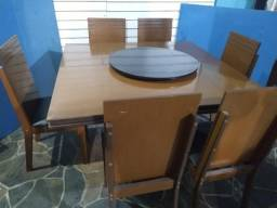 Mesão Mdf 1,40x1,40 centro giratório + 6 cadeiras estofadas