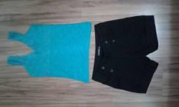 Blusinha de renda + shorts jeans preto