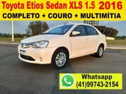 Toyota Etios Sedan 1.5 XLS 2016 Completo + Couro + Multimídia - Aceito Troca - Financio