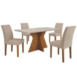Conjunto Mesa Jantar Creta 120cm x 80cm Com 4 Cadeiras Pampulha - Leifer