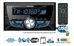 Auto Radio Roadstar 2 Din Bluetooth Usb Cartão Sd Aux Rca