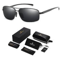 Óculos de Sol Quadrado Polarizado Esportivo UV400 Preto Original N7088