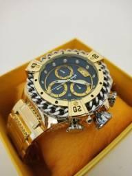 Relógio masculino dourado grande novo na caixa