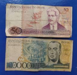 R$ 120, Vendo duas notas antigas.