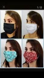 Máscaras descartável e tecido.