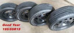 Pneus Good Year 195/55R15 + rodas de ferro 4 furos