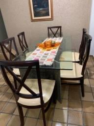 Bela mesa  de jantar de vidro, granito + 6 cadeiras