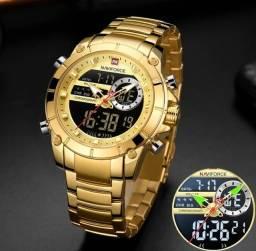 Relógio Naviforce original Masculino Dual Time, Aço Inoxidável.