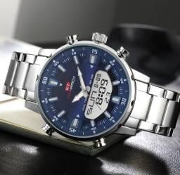 Relógio Kat-Wach Original Luz de Led Analógico e Digital Aço Inoxidável.