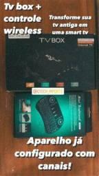 Tv box + Teclado Wireless + Canais