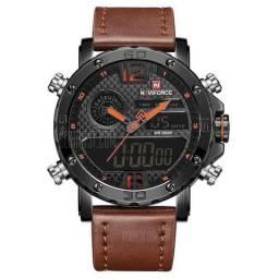 Relógio masculino NAVIFORCE multifuncional Castanho