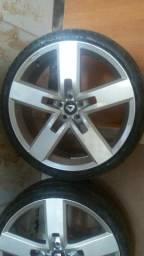 Vendo/troco rodas aro 20, 5 furos com pneus meia vida