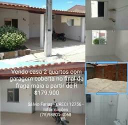 Vendo casa 2 quartos com garagens em condomínio no final da fraga maia R$180.000,00