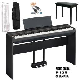 Kit Completo Piano Digital Yamaha P125 Com Estante De Madeira