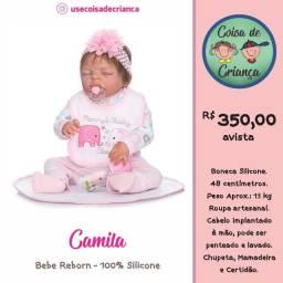 Bebê Boneca Reborn Camila 100% silicone 48 cm com Acessórios