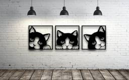 Trio de quadros Gatos MDF vazado na cor Preta.