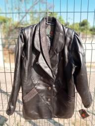Jaqueta Italiana de Couro Na Etiqueta