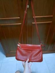Bolsa vermelha-couro legítimo