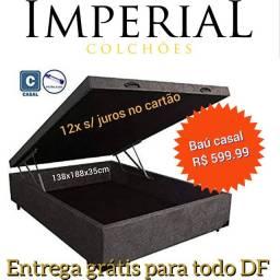 Pronta entrega >cama box baú novos reforçado todo na madeira <