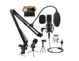 Kit microfone condensador USB Vedo, para estúdio e podcast