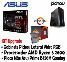 Kit: Ryzen 5 2600 - Placa Mãe Asus Prime B450M Gaming - Gabinete Lateral Vidro RGB