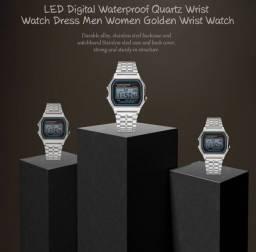 Relógio Quartz de Pulso com Pulseira Dourada e LED Digital à