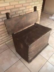 Banco baú madeira maciça rústico