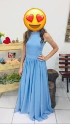 Vestido azul Crepe veste 34