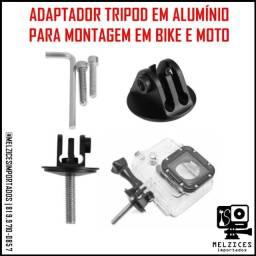 Adptador Tripod em Alumínio para montagem em Bije e Moto