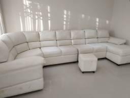 Sofa 7 lugares em courino branco Com Divã
