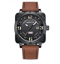 Relógio Masculino Militar Luxuoso Quadrado Ristos à Prova D'água 100% Novo e Original