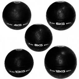 Kit Bola Slam Ball com 4 Kg + 6 Kg + 8 Kg + 10 Kg + 12 Kg Preta Liveup