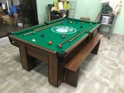 Mesa de Sinuca Cor Imbuia Tecido Verde Logo Palmeiras Mod. RIKU8502