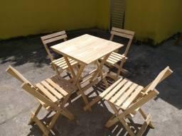 Conjunto Mesa Dobrável 4 Cadeiras Madeira Maciça Ultimas Peças !