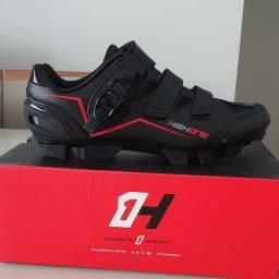 Sapatilha MTB preta/vermelha HIGHONE 2 Velcros 1 Catraca Preta/vermelha Tm-41