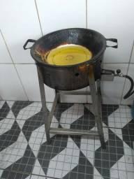 Tacho esmaltado e suporte inox para fritura