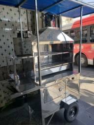 Carrinho de churrasco espetinho com termica suporte lateral para farinha