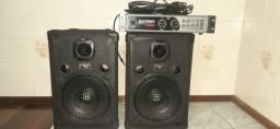 Amplificador,caixas e microfones sem fio